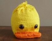 Duck Hat Beanie Photo Prop Handknit Hand Knit Baby Infant Toddler Easter Ducky Animal Beanie Zoo Halloween Costume