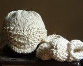 NEW - Handknit Infant Baby Hat and Booties Set from Cream Organic Cotton Photo Prop Hospital Gift