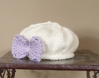 Beret with Bow Vintage Shappy ChicBaby Newborn Infant Photo Prop Easter Ruffled Boots