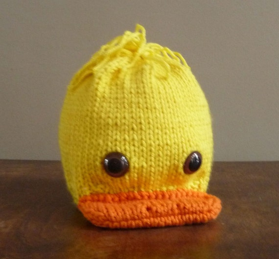 Knitting Pattern For Duck Hat : NEW Hand knit Infant Newborn Chicken Little Chick by ...