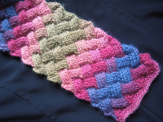 Entrelac Scarf Knitting Pattern PDF by sassafrass2 on Etsy