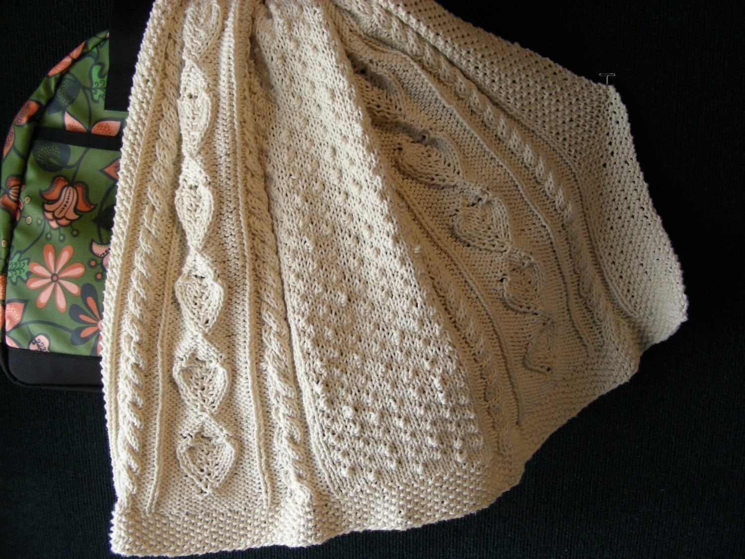 Free Aran Knitting Pattern : Knitting Pattern Aran Baby Blanket Afghan Heirloom Cable Moss