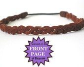 Leather Braided Hippie Headband  Boho Hairband, comfortable  - rust, black or brown suede