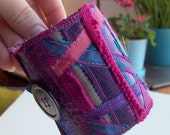 Sale - Textile collage cuff in sumptuous purples