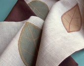 Sale - Linen and cashmere autumn leaf scarf