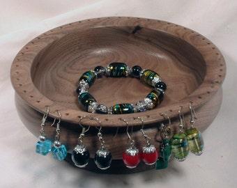 Handmade Large Black Walnut Wooden Earring Bowl Holder