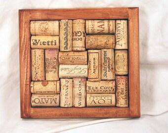 Handmade Chestnut Stained Wooden Recycled Wine Cork Trivet