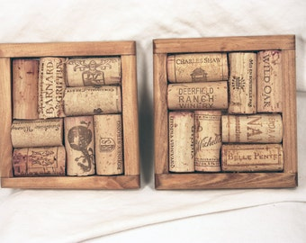 Two Walnut Stained Wooden Recycled Wine Cork Coasters