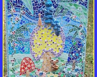 Hookah Smoking Caterpillar Mosaic From  Alice in Wonderland