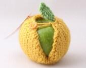 Apple cozy - Mustard with Orange Button