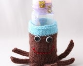 Baby Bottle Cuptopus Cozy in Brown and Aqua with white and Black Buttons