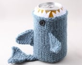Shark Week -Monster Shark  - for your  Soda Can- Dusty Blue - This monster made it to the front page of Etsy