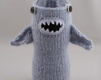 Shark Week, Water Bottle Cozy - Monster Shark in Silver Blue