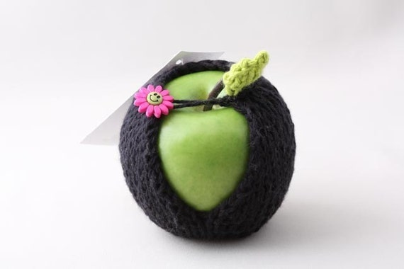 Apple Jacket - Black with Pink Flower Button