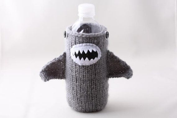 Water Bottle Cozy - Monster Shark in Silver Grey - Made it to the Front Page