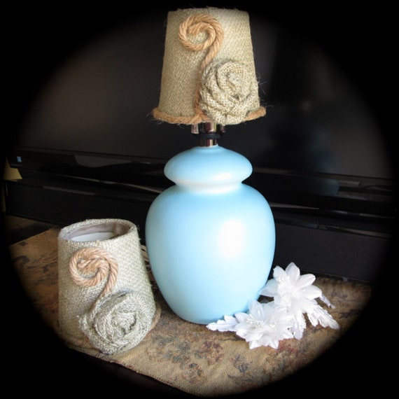 Jute Ceiling Lamp Shade: Two Burlap Miniature Lamp Shades With Jute Details By Salzanos
