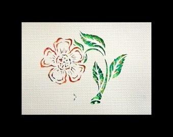Flower Papercut ACEO, Handcut Original, Watercolor