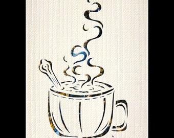 Mocha Papercut ACEO, Handcut Original, Watercolor