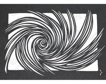 Vortex Papercut ACEO, Handcut Original