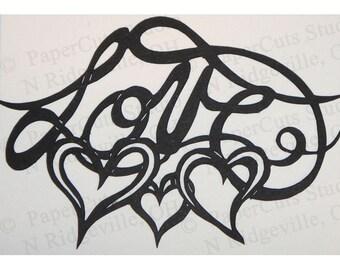Love Papercut ACEO, Handcut Original