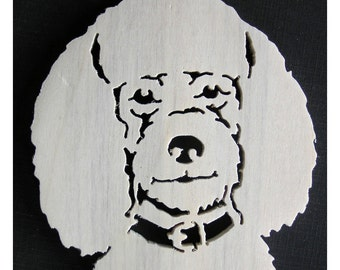 Poodle, 2 scroll saw ornaments