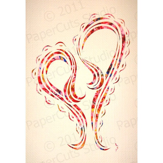 Valentine Papercut ACEO, Handcut Original, Watercolor