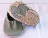 Lt Sage Baby Leather Elephant Moks