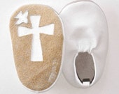 White Baby Leather Baptismal Moks