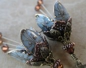 VICTORIA...BLUE - ROMANTIC, BRASS, FILIGREE, FLOWER, EARRINGS