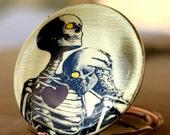 Skeleton skull necklace,locket,love,romantic,halloween,autumn,fall,heart,image,couple,brass,vintage locket