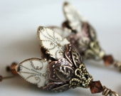 VICTORIA...IVORY - Romantic, flower, brass, victorian earrings