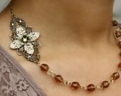 Bridesmaid SET necklace earrings, flower, wedding necklace, bridal necklace, bridal earrings