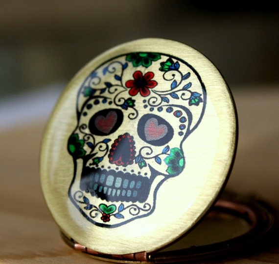 Skull locket - Day of the Dead, Red, Green, Heart, Flower, Image, Swarovski Crystal, Halloween, necklace