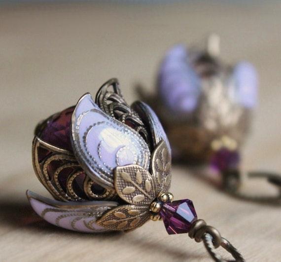 SALE Purple flower earrings - amethyst lilac lavender bud swarovski crystal bridesmaid weddings