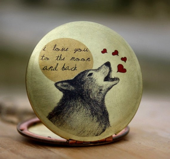 I LOVE you to the MOON and back-Vintage,brass,wolf,heart,image locket