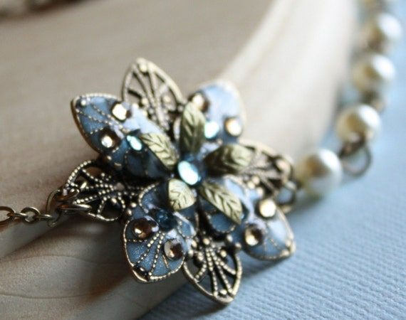 Bridal necklace bridesmaid set - wedding, something blue, romantic, earrings, pearl, swarovski
