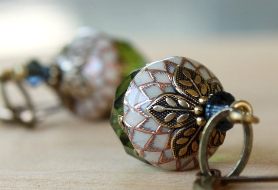 Acorn earrings - autumn,Fall,harvest,squirrel,green,ivory,blue,swarovski crystals,weddings,bridesmaid,earrings