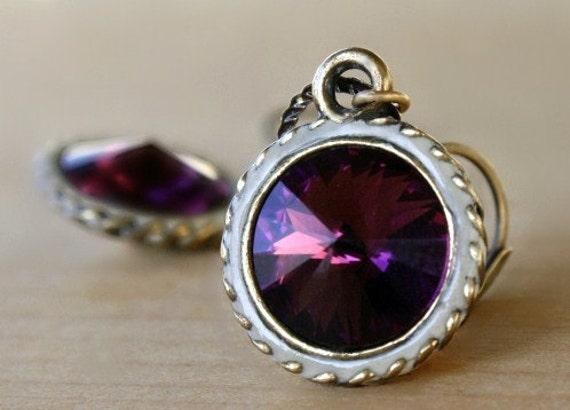 Purple Rivoli Crystal Earrings - Amethyst Swarovski crystal weddings purple brass earrings