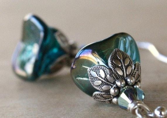Teal flower earrings - weddings sterling silver bridesmaid teal blue green romantic flower earrings