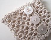 Wristlet no. 69, natural ecru cotton lace and vintage buttons