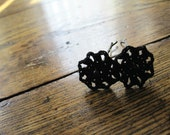 Simple Black Star Crochet Lace Hair Pins with iridescent black beads