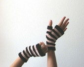 Linen Blend Striped Fingerless Gloves - Handknit Glovelets in Sweet Pink and Coal Black - Women's Mitts, Clearance Color