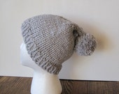 STORM GREY Pom Pom Pixie Hat - Hand Knit in Soft Wool in Light Grey with a Giant PomPom Poof