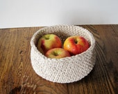 Rustic Linen and Cotton Bowl / Basket - Cottage Chic Home Decor for All Seasons - Textures, Textiles, Soft Sided Apple Basket