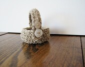 Tiny Tiny Soft Linen Button Basket 4 - Handmade crochet miniature basket with handle and vintage buttons
