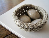 Little Linen Nest with Polished Stone Eggs - Nature Inspired Cottage Chic Decor in Earthy Taupe and Beige Tones