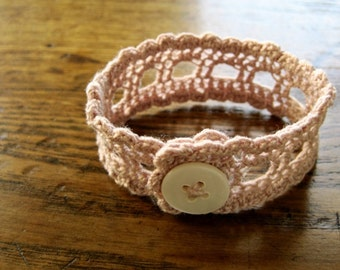 Dusty Pink Wristlet in handmade cotton lace