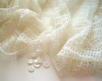 Wedding White Hand Knit Lace Audrey Stole in Silk and Wool - Bridal Accessories - Lacy Wrap