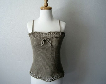 Lichen Lace Camisole Tank Coverup - Women's Summer Knits - Pure Cotton Lace Fashion Thing to Wear as a Top, Skirt, or Scarf