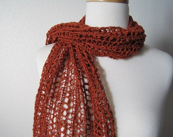 The Laszlo Scarf in Autumn Spice - Hand Knit in Textured Cotton - Rust Orange Lace Knit Net Scarf for Late Summer, Autumn, Winter Fashion